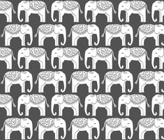 Elephant Parade Block Print - Charcoal/White by Andrea Lauren fabric by andrea_lauren on Spoonflower - custom fabric