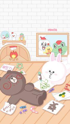 Lines Wallpaper, Drawing Wallpaper, Kawaii Wallpaper, Iphone Wallpaper, Cony Brown, Line Friends, Cute Memes, Cute Cartoon Wallpapers, Couple Drawings