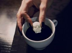 food decoration ideas, skull and bone shaped sugar cubes