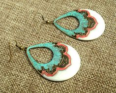 BOho Earrings - Beatiful Enamel Boho earrings. $6.50, via Etsy.