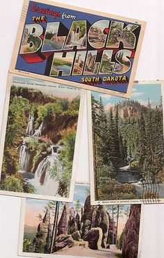 Vintage postcards Black Hills, South Dakota Stay at http://hartranchresort.com/ during your family camping experience!