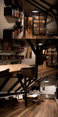 Bookshelves on the wall in vintage style meeting room