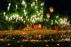 Picture of floating lanterns are launched into the air at Loi Krathong and Yi peng festivals