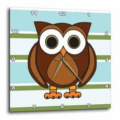 3dRose Cute Brown Owl Blue Green Stripe, Wall Clock, 13 by 13-inch