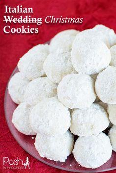 Italian Wedding Christmas Cookies, Italian Wedding Cookies, Also called -- Snowball Cookies, Snowballs, Russian Tea Cakes, #christmascookies #snowballs #italianwedding