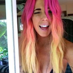 Ombre hair pink and yellow
