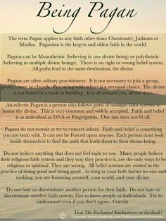 Being Pagan.... believe in kindness, nature, & peace