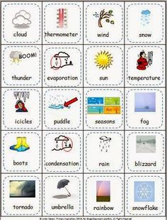 FREE illustrated weather vocabulary cards. Make two copies and cut apart for matching and memory games that will reinforce the science vocabulary you're teaching!