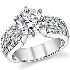Wide Band Pave Asha & Diamond Engagement Ring