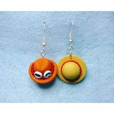 Hat Luffy & Ace, earrings,pendientes,anime,manga,gorro,one piece,