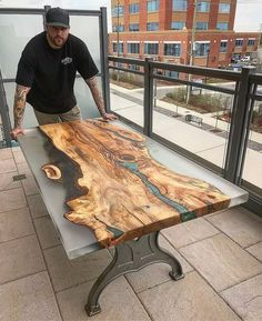 Picture could contain: 1 person, shoes - Holz Tisch - Resin Wood Resin Furniture, Unique Furniture, Furniture Dolly, Furniture Plans, Rustic Design, Rustic Decor, Rustic Chair, Rustic Art, Rustic Theme