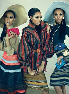 "Anais Mali, Jasmine Tookes & Jourdan Dunn in ""Feminine Mystique"" Photographed by Emma Summerton and Styled by Giovanna Battaglia and for W Magazine, March 2012 Jasmine Tookes, Style Noir, Mode Style, African Inspired Fashion, African Fashion, Nigerian Fashion, Ghanaian Fashion, African Women, Moda Fashion"