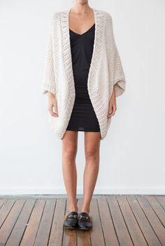 This kimono style cardigan is a nice variation on our long sleeved cardigans and…