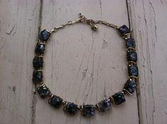 Vintage 1950's Purple Confetti Necklace by by happydayantiques