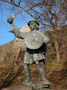 """Rob Roy MacGregor, Stirling Castle. Robert Roy MacGregor (Gaelic: Raibeart Ruadh MacGriogair; baptised 7 March 1671 – 28 December 1734) was a Scottish outlaw, who later became a folk hero. He has been called """"the Scottish Robin Hood""""."""