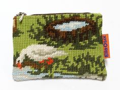 Handmade vintage Needlepoint small zippered pouch