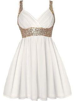 Grecian Glitz Dress | Gold Sequin White Babydoll Dresses | Rickety Rack