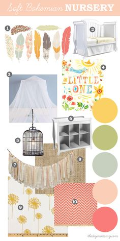 Mood Board: Soft, Eclectic Boho Nursery. Natural elements like feathers and burlap with soft, pastel colours like peach, coral, yellow and g...