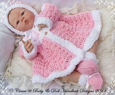 "Fur Coat, bonnet & bootees 19-22"" doll/newborn/0-3m baby-knitting pattern, fur coat, doll, baby, babydoll handknit designs"