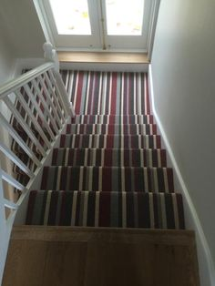Discount Carpet Runners For Hall Striped Carpet Stairs, Striped Carpets, Stair Carpet, Diy Carpet, Carpet Ideas, Carpet Installation, Hallway Decorating, Decorating Ideas