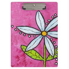 Whimsical White Daisy Flower Pink Clipboards