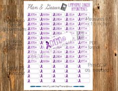 Printable Planner Stickers Lymphoma Hodgkins by PlanandGeaux
