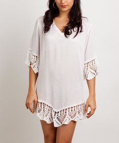 This Baik Baik White Crochet-Trim V-Neck Dress by Baik Baik is perfect! #zulilyfinds