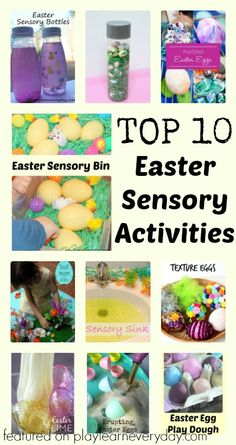 A list of the most fun Easter sensory activities for young children, including sensory bottles, bins and more!