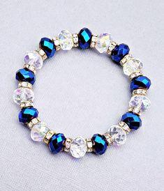 bracelets with letters Sapphire Blue Crystal Bracelet African Beaded Bracelets, Beaded Bracelets Tutorial, Handmade Bracelets, Beaded Jewelry, Handmade Jewelry, Silver Jewelry, Wire Jewelry, Jewellery, Stackable Bracelets