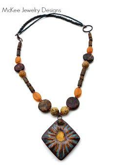 Seaside. Brown, gold, blue necklace. Ceramic, gemstone, copper jewelry, McKee Jewelry Designs