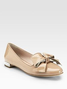 Miu Miu Bow Patent Leather Jewel Smoking Slippers - tempted to order these in black.