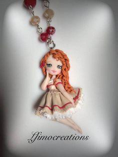 Collana polymer clay handmade doll bambolina di Lfimocreations su Etsy