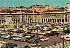 LISBOA ano 1966 Praça do Comércio - PORTUGAL detalhe de postal antigo