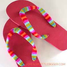 Yarn Wrapped Flip Flops Tutorial! - Dream a Little Bigger
