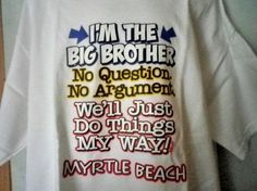 Boys Big Brother Humor T-Shirt, Graphic Tee, Handmade, New, Unworn  #Handmade #Everyday