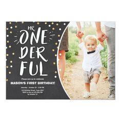 Black Gold Party Mr onederful birthday invitation Boy Black Gold - ♥ A perfect way to invite your guests to your little one's birthday party! Mr onederful theme with black and gold. 1 Year Birthday Party Ideas, Baby Boy 1st Birthday Party, One Year Birthday, First Birthday Pictures, First Birthday Party Themes, Birthday Themes For Boys, First Birthday Invitations, Gold Birthday, Birthday Banners