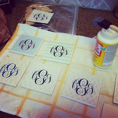 Gave me the idea to make coasters out of pretty tile from Lowes and monogram the top. Can mix up the tile types.