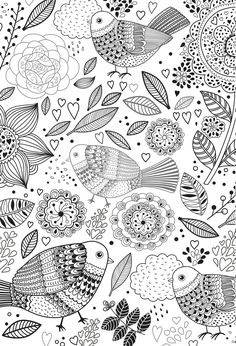 Abstract Doodle Coloring pages colouring adult detailed advanced printable Kleuren voor volwassenen birds colouring page including mandala designs and leaves. stress relieving relaxing colouring for grown ups