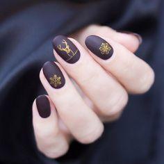 Gold Nail Designs, Holiday Nail Art, Christmas Nail Art Designs, Winter Nail Art, Winter Nail Designs, Uñas Art Deco, Art Deco Nails, Christmas Nail Stickers, Cute Christmas Nails