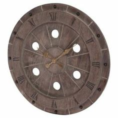 """Showcasing cutout accents, a Roman numeral dial, and a weathered finish, this vintage-inspired wall clock brings timeless elegance to your entryway or living room decor.    Product: ClockConstruction Material: WoodColor: Rustic brown with gold handsFeatures: Natural stained woodRoman numeral dialWeathered finishDimensions: 28"""" Diameter x 2"""" D"""