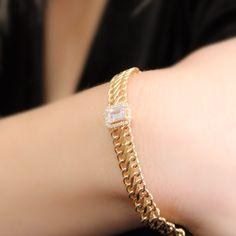 14 ayar kenarları örgü model baget taş ayrıntısı günlük kullanışlı bir bileklik. ( 14 carat cages braid model baguette stone detail daily handy wristband.) Bracelets, Lovers, Photo And Video, Stone, Thoughts, Instagram, Jewelry, Ideas, Bracelet Patterns