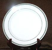 Sterling China Vitrified Green Stripe Restaurant Dinner Plates