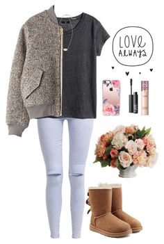 """""""come as you are"""" by dianaheart ❤ liked on Polyvore featuring New Look, H&M, Acne Studios, UGG, Allstate Floral, Casetify, Kendra Scott and NARS Cosmetics"""