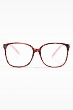 'Akira' Thin Frame Clear Wayfarer Glasses - Berry Tortoise/Pink - 5355-2