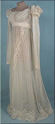 Circa 1805-1810 Embroidered Empire Muslin Gown.
