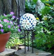 Mosaic Garden Gazing Ball ~ made with recycled plastic balls