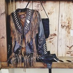 ☯☮ॐ American Hippie Bohemian Style ~ Boho Leather Fringe Jacket!