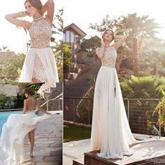 2016 In stock summer beach high waist Empire wedding dresses A line chiffon side slit lace halter backless Prom Dresses bridal gowns BO5557