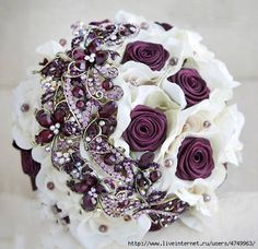 Ivory and burgundy wedding brooch bouquet Bouquet Bling, Wedding Brooch Bouquets, Hand Bouquet, Bride Bouquets, Burgundy Wedding, Bridal Flowers, Flower Arrangements, Dream Wedding, Weddings