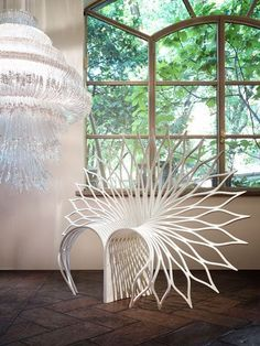 Chair Shaped Like The Fanned Fail Of A Peacock By Toronto Design Studio  UUfie Peacock Chair